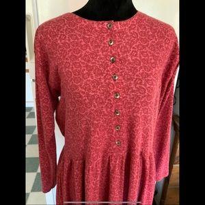 16 Ll Bean Rosy Knit Classic Dress Pink Long Sleev